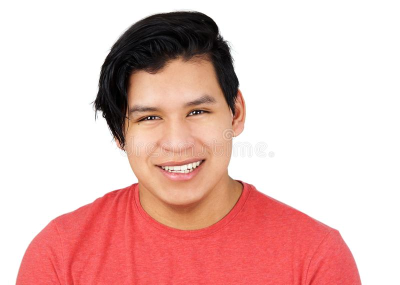 Hispanic teenager male isolated on white royalty free stock photo