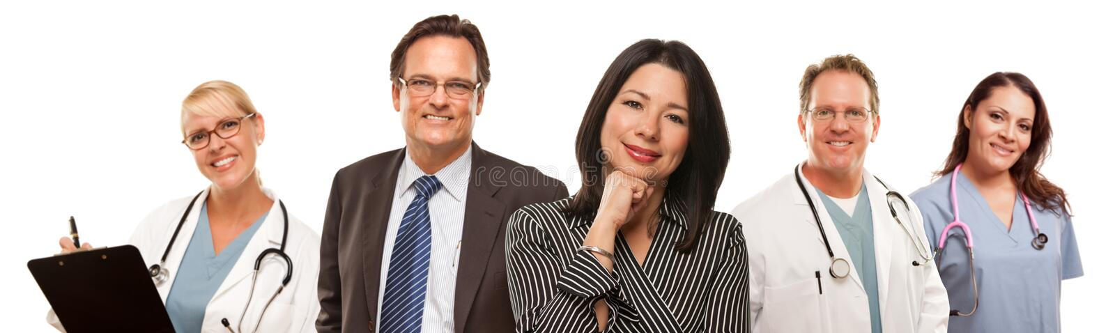 Hispanic Woman with Businessman and Male Doctors stock images