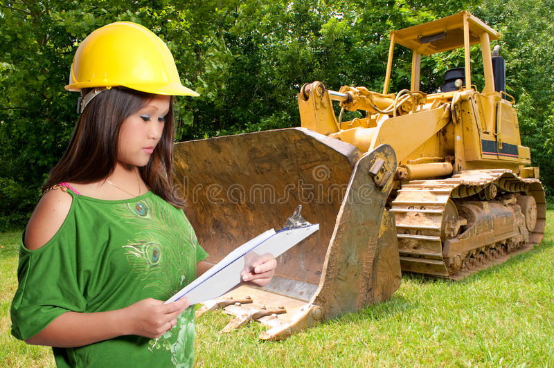 Hispanic Woman Construction Worker royalty free stock image