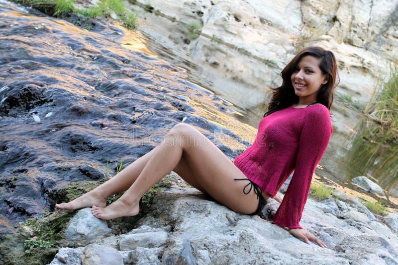 Hispanic Woman Creek royalty free stock photo