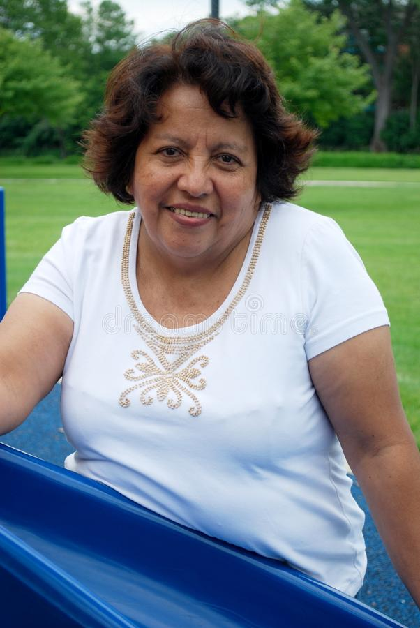 Hispanic woman in her fifties stock photo