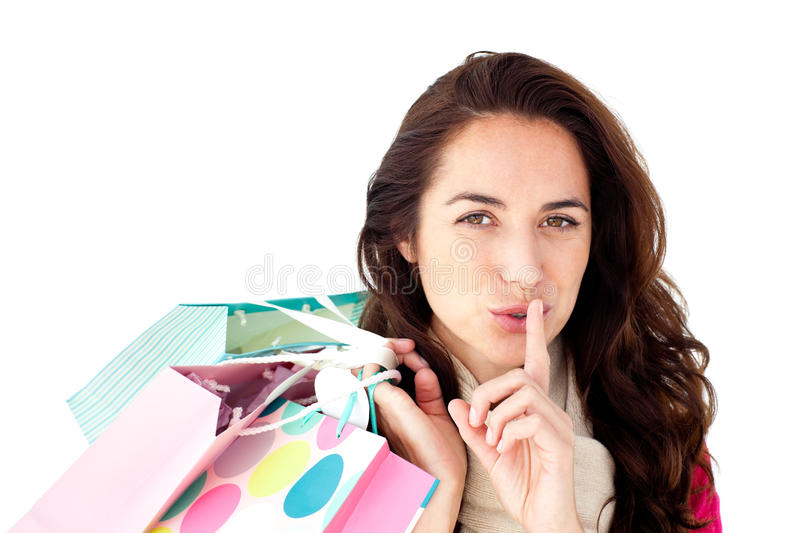 Hispanic Woman With Scarf And Shopping Bags Royalty Free Stock Photos