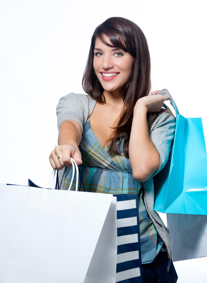 Hispanic woman with shopping bags royalty free stock images