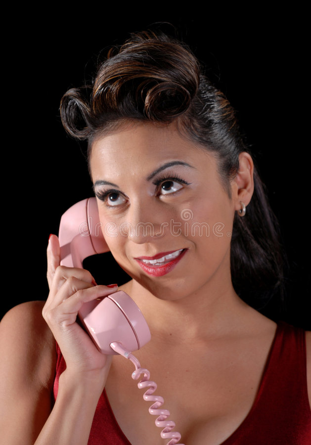 Download Hispanic Woman On Telephone Stock Image - Image: 1609427