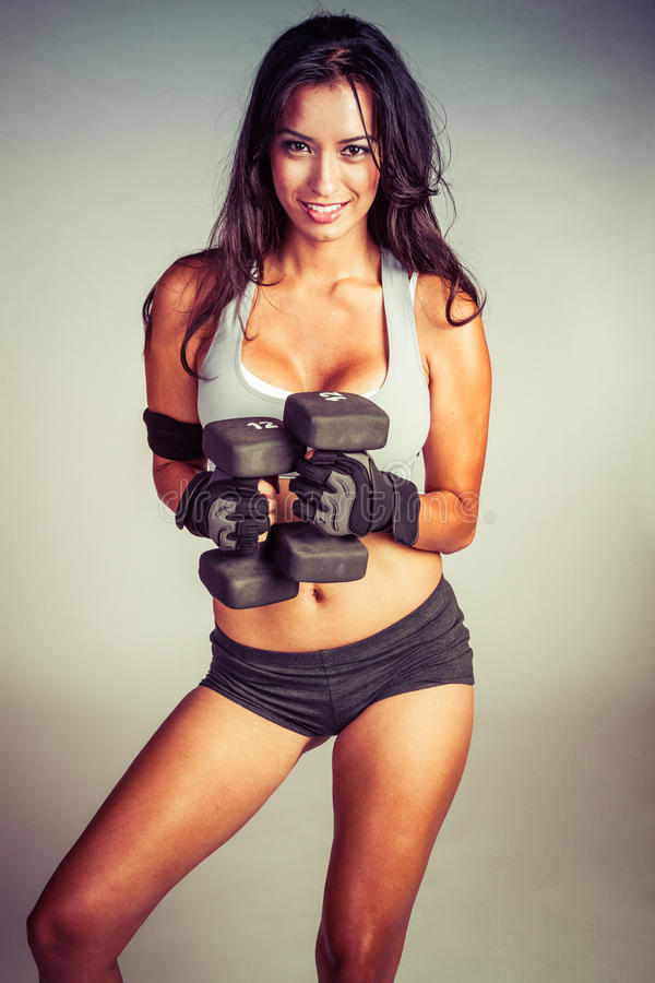 Hispanic Woman Working Out stock image