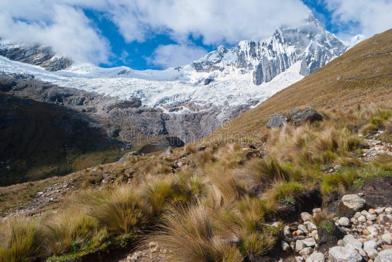 (hispanicized literujący Taulliraju - 5.830) Peru, Tawllirahu szczyt w Cordillera Blanca w Andes - fotografia stock