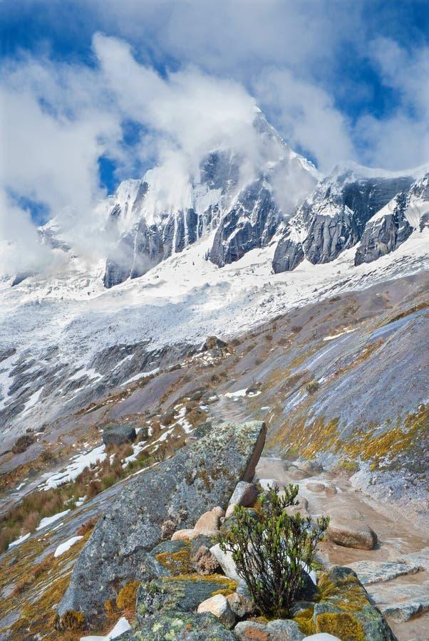 (hispanicized literujący Taulliraju - 5.830) Peru, Tawllirahu szczyt w Cordillera Blanca w Andes - obraz stock