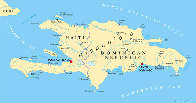 Hispaniola Political Map With Haiti And Dominican Republic Stock