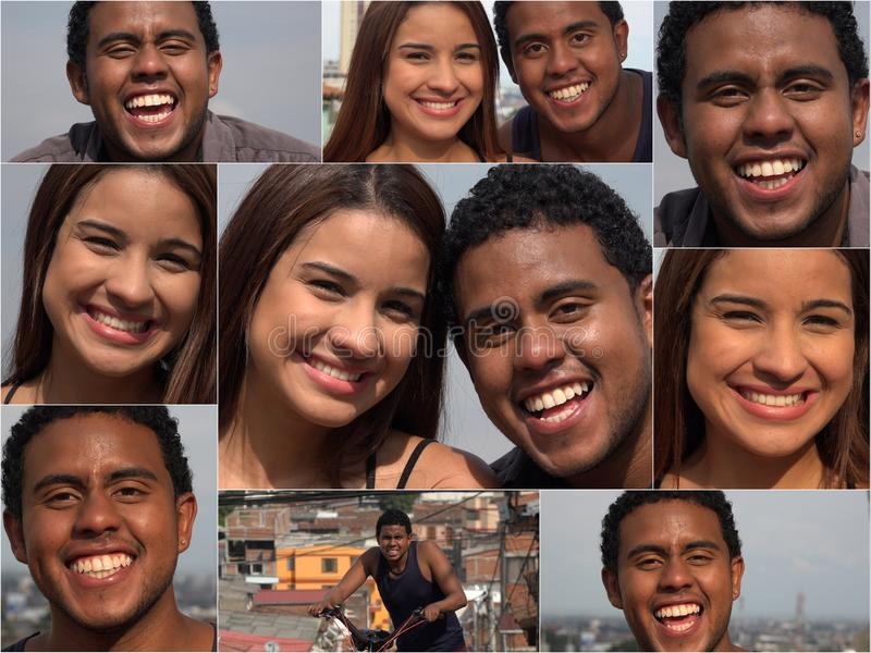 Hispanische Freunde und Datierungs-Collage stockfotos
