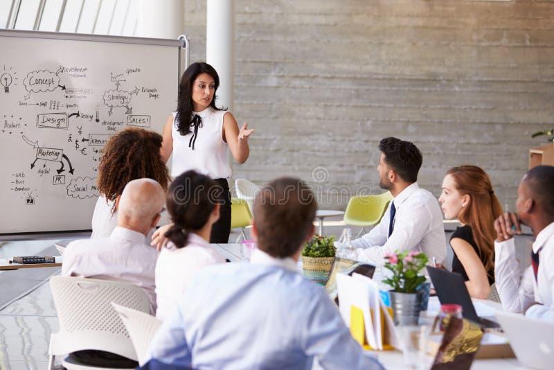 Hispanische Geschäftsfrau-Leading Meeting At-Sitzungssaal-Tabelle lizenzfreies stockbild