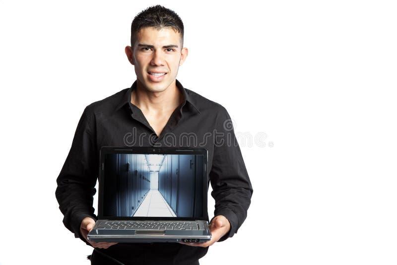 Hispanischer Geschäftsmann mit Laptop stockbilder