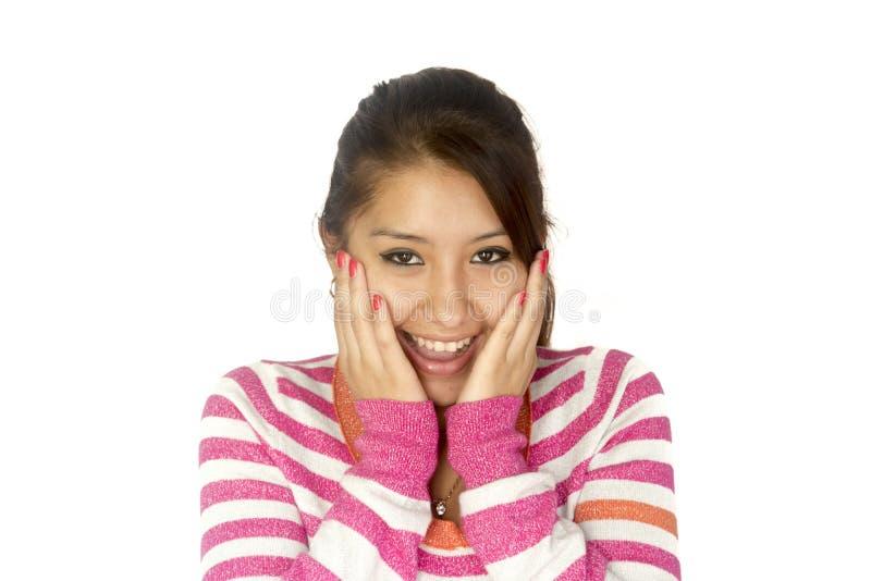Hispanisches Mädchen überrascht lizenzfreie stockfotos