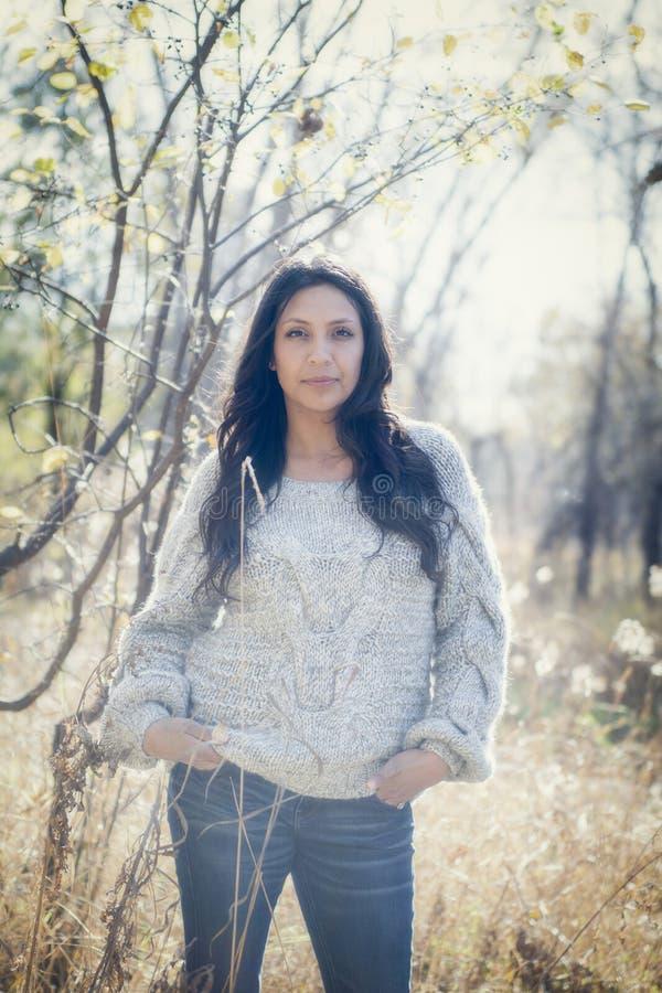Hispanos milenarios jovenes hermosos, indio americano, retrato multirracial de la mujer joven foto de archivo