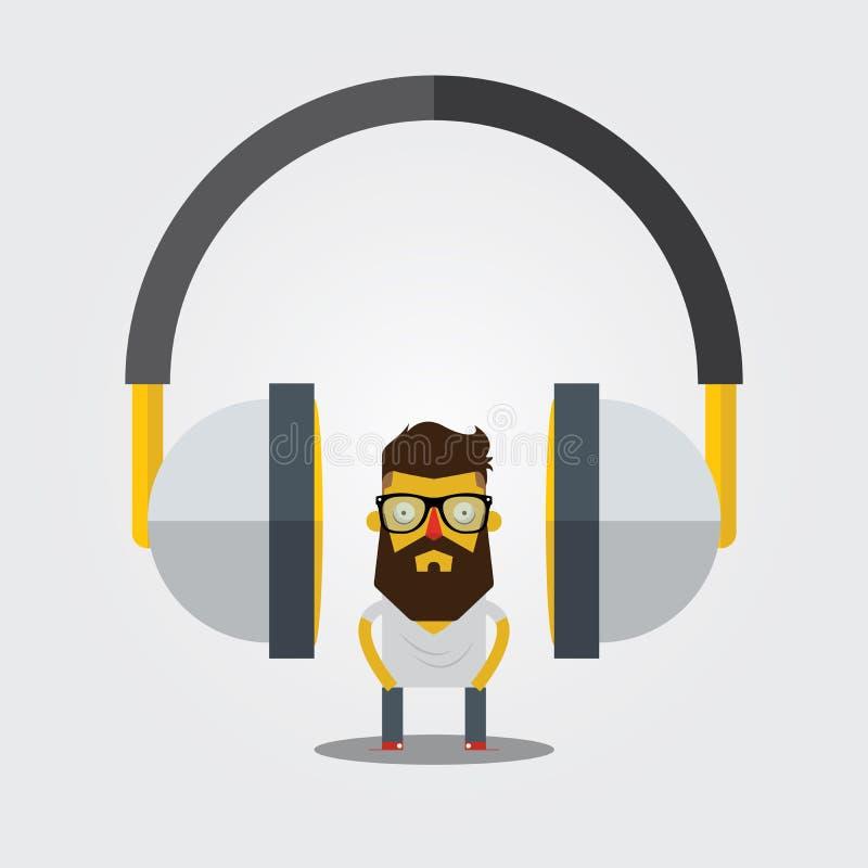 Hispter och headphone royaltyfri illustrationer