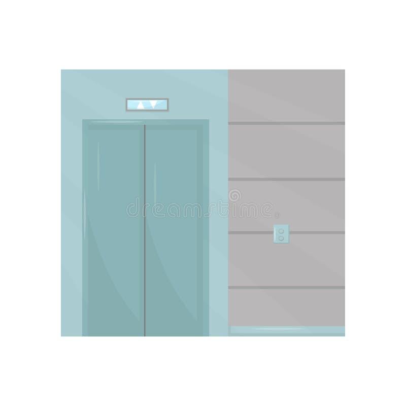 Hiss med den stängda dörren, knappar på väggen Del av inredesignen av kontorskorridoren Byggnadsbeståndsdel Plan vektordesign vektor illustrationer