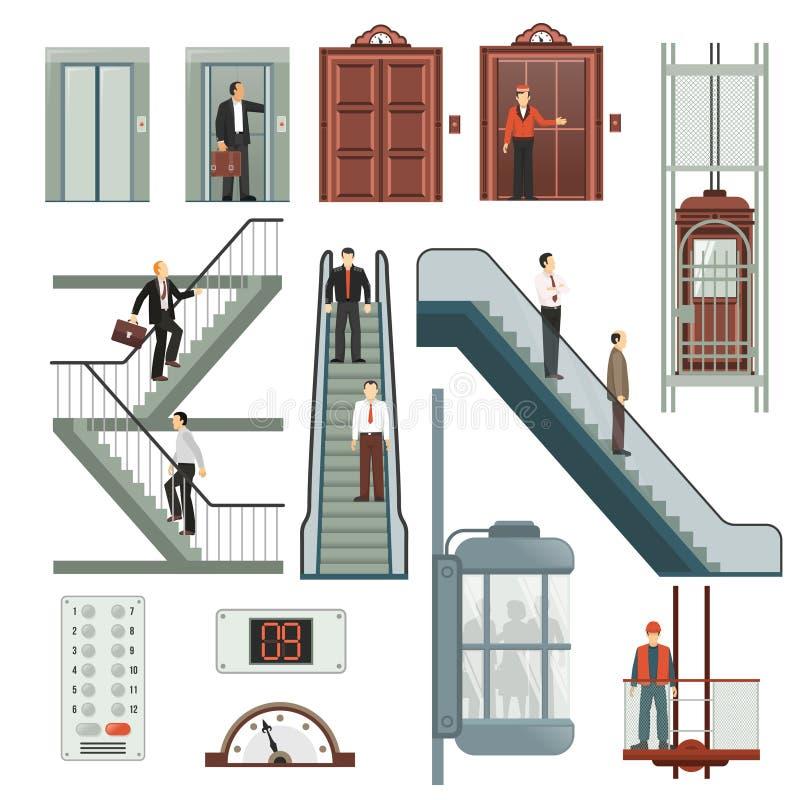 Hiss- och trappauppsättning stock illustrationer