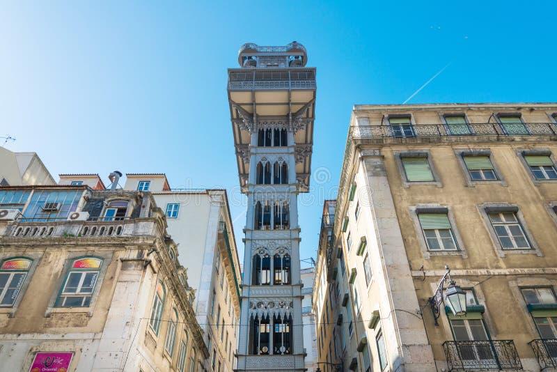 Hissde santa justa i Lissabon, Portugal, Europa arkivfoto
