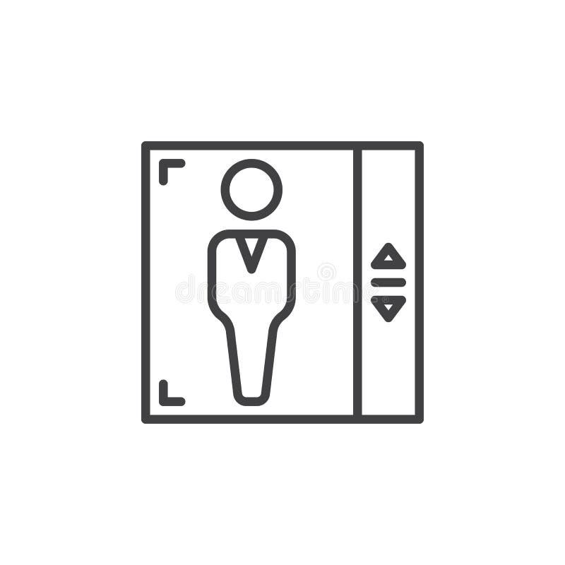 Hisslinje symbol, översiktsvektortecken, linjär pictogram som isoleras på vit royaltyfri illustrationer