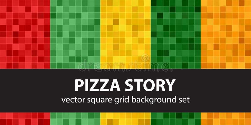 História ajustada da pizza do teste padrão quadrado ilustração do vetor