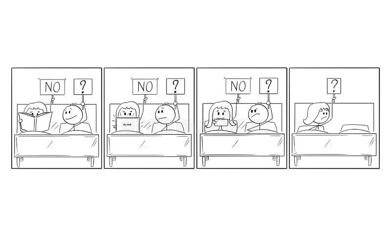 História cômica dos desenhos animados de relacionamento frustrante do homem e da mulher e do problema sexual ilustração do vetor