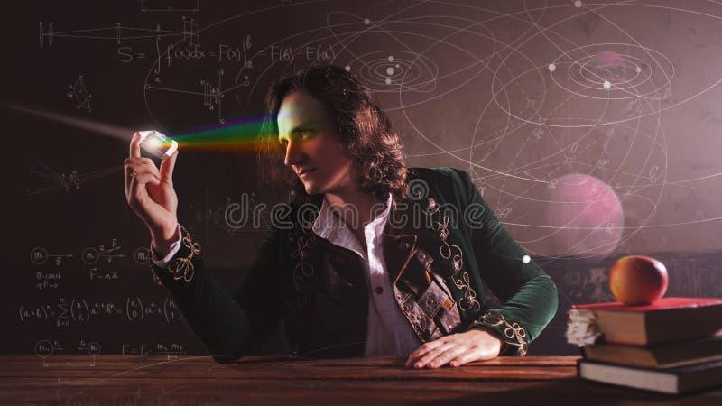 Hist?ria da ci?ncia, conceito Isaac Newton e f?sica fotos de stock