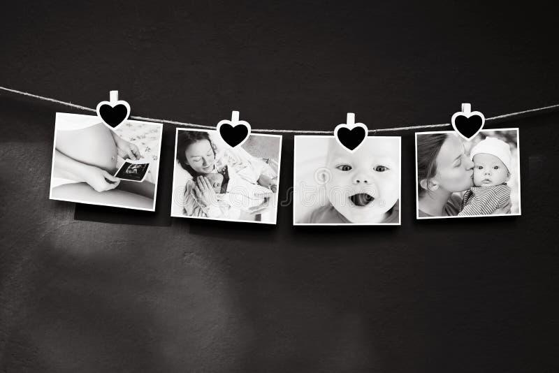 História da foto do bebê e da mãe fotos de stock royalty free