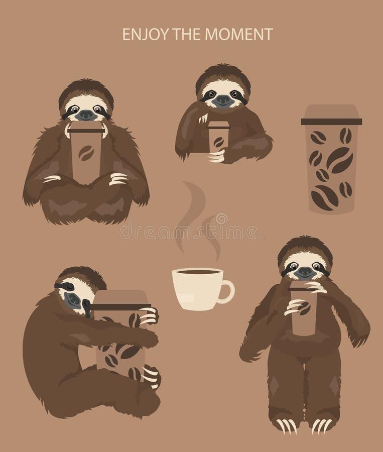 A história de uma preguiça Cofee da manhã Preguiças engraçadas dos desenhos animados nas posturas diferentes ajustadas ilustração do vetor