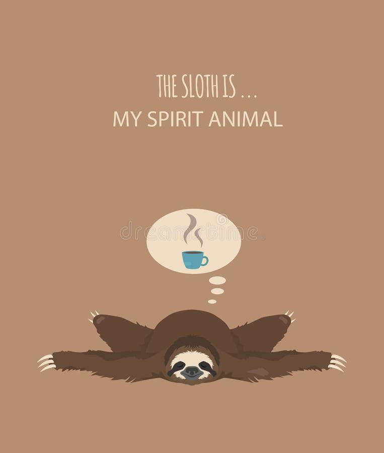 A história de uma preguiça Cofee da manhã Preguiças engraçadas dos desenhos animados nas posturas diferentes ajustadas ilustração royalty free