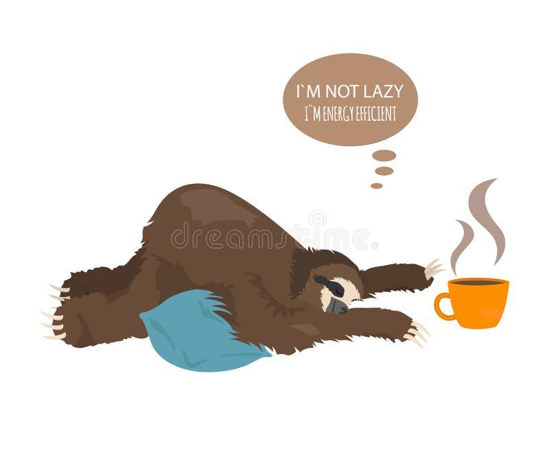 A história de uma preguiça Cofee da manhã Preguiças engraçadas dos desenhos animados nas posturas diferentes ajustadas ilustração stock
