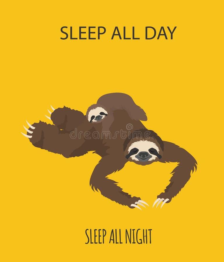 A história de uma preguiça Com família Preguiças engraçadas dos desenhos animados nas posturas diferentes ajustadas ilustração do vetor