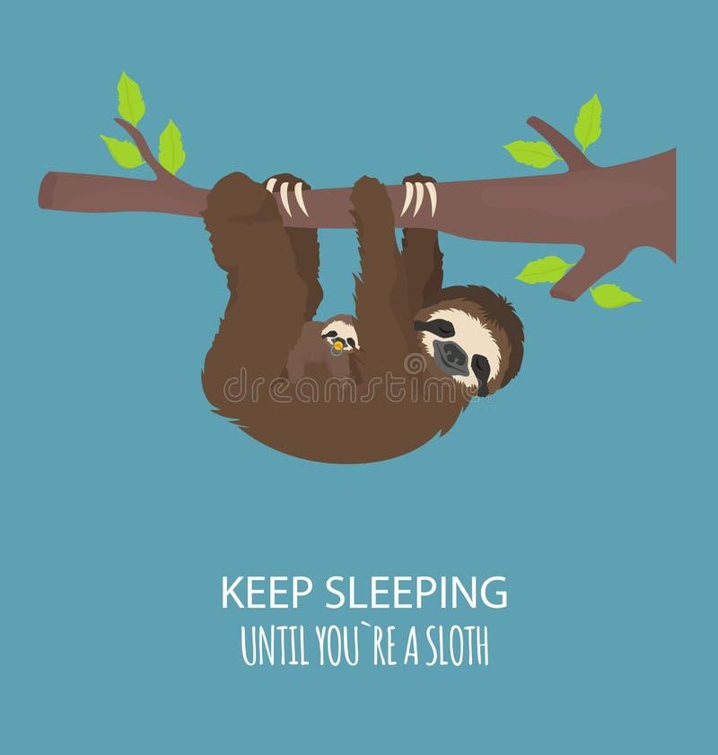 A história de uma preguiça Com família Preguiças engraçadas dos desenhos animados nas posturas diferentes ajustadas ilustração royalty free