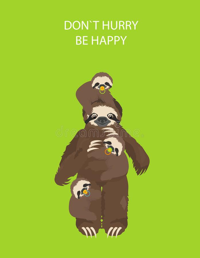 A história de uma preguiça Com família Preguiças engraçadas dos desenhos animados nas posturas diferentes ajustadas ilustração stock