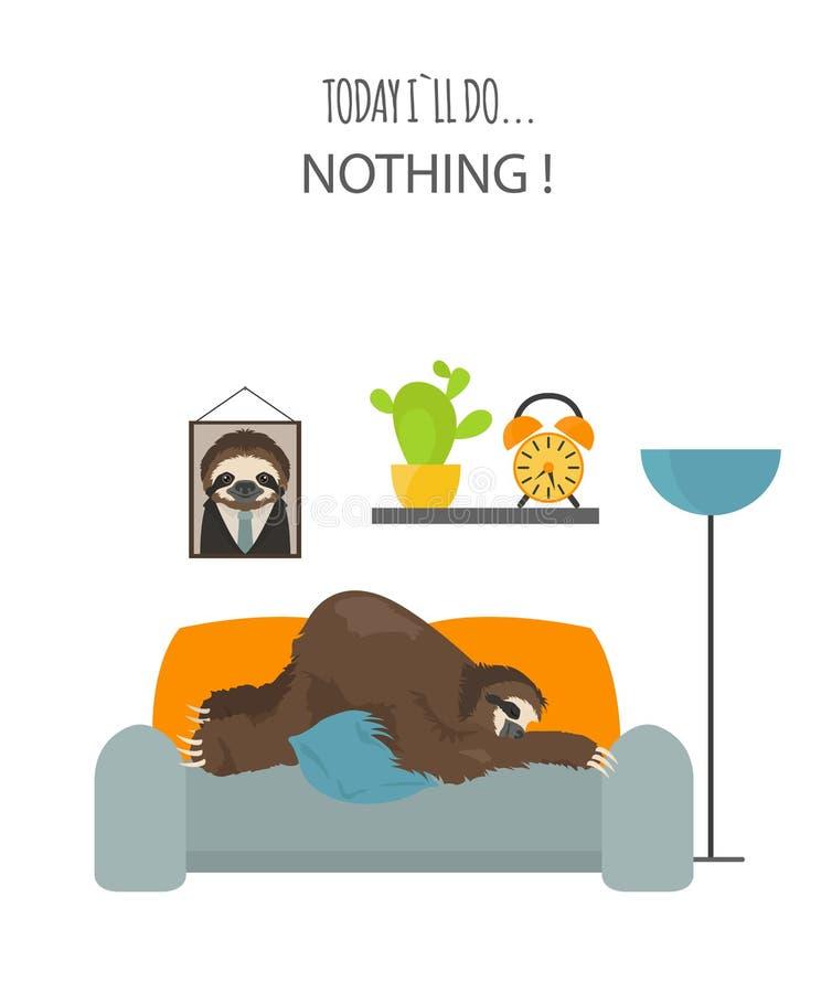 A história de uma preguiça Em casa Preguiças engraçadas dos desenhos animados nas posturas diferentes ajustadas ilustração stock