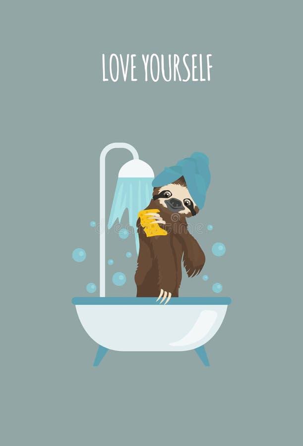 A história de uma preguiça Em casa Preguiças engraçadas dos desenhos animados nas posturas diferentes ajustadas ilustração do vetor
