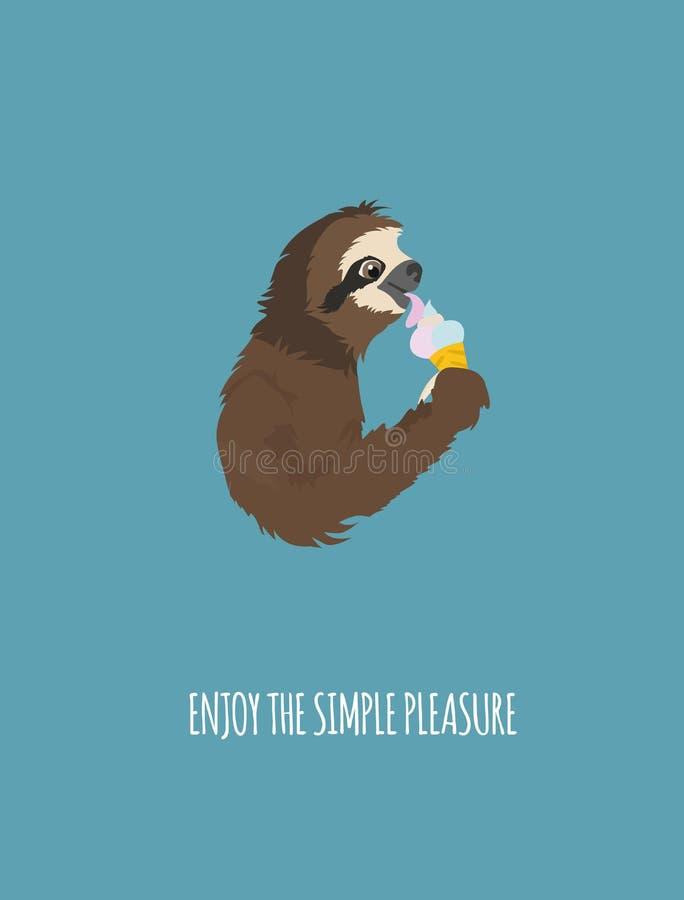 A história de uma preguiça No partido com amigos Preguiças engraçadas dos desenhos animados nas posturas diferentes ajustadas ilustração stock