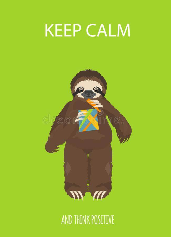 A história de uma preguiça No partido com amigos Preguiças engraçadas dos desenhos animados nas posturas diferentes ajustadas ilustração royalty free