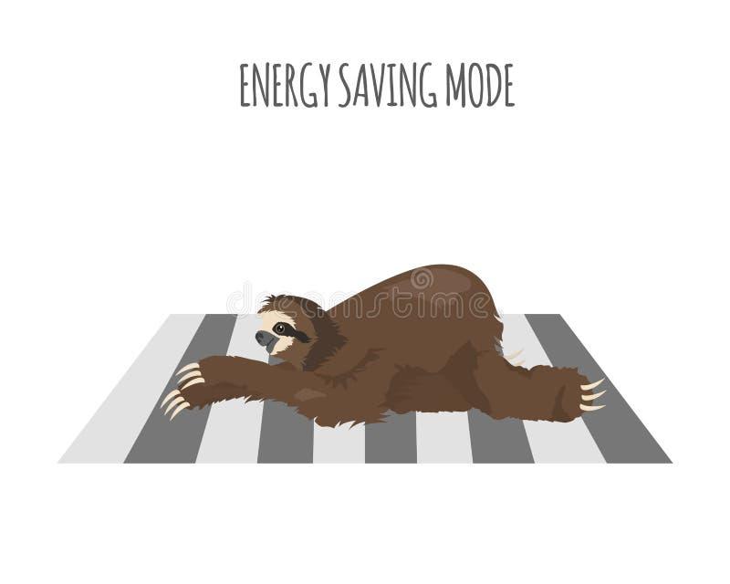 A história de uma preguiça outdoors Preguiças engraçadas dos desenhos animados nas posturas diferentes ajustadas ilustração stock
