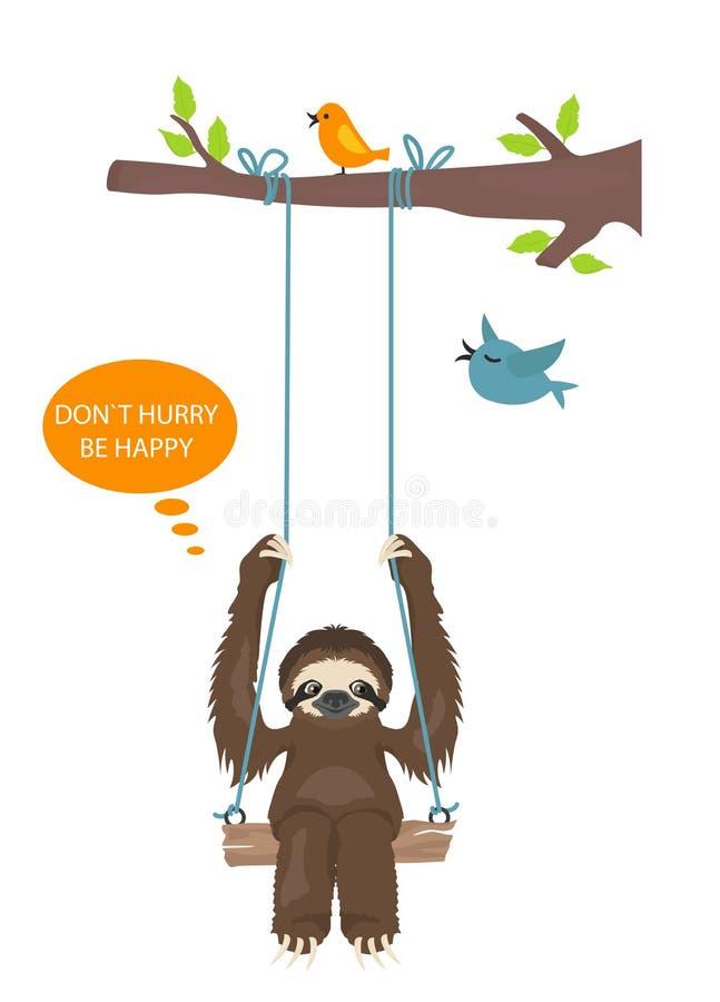 A história de uma preguiça outdoors Preguiças engraçadas dos desenhos animados nas posturas diferentes ajustadas ilustração do vetor