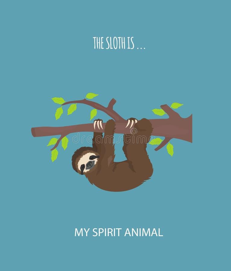 A história de uma preguiça outdoors Preguiças engraçadas dos desenhos animados nas posturas diferentes ajustadas ilustração royalty free