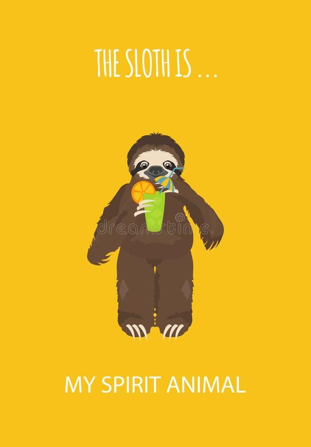 A história de uma preguiça Viagem, feriado Preguiças engraçadas dos desenhos animados nas posturas diferentes ajustadas ilustração do vetor