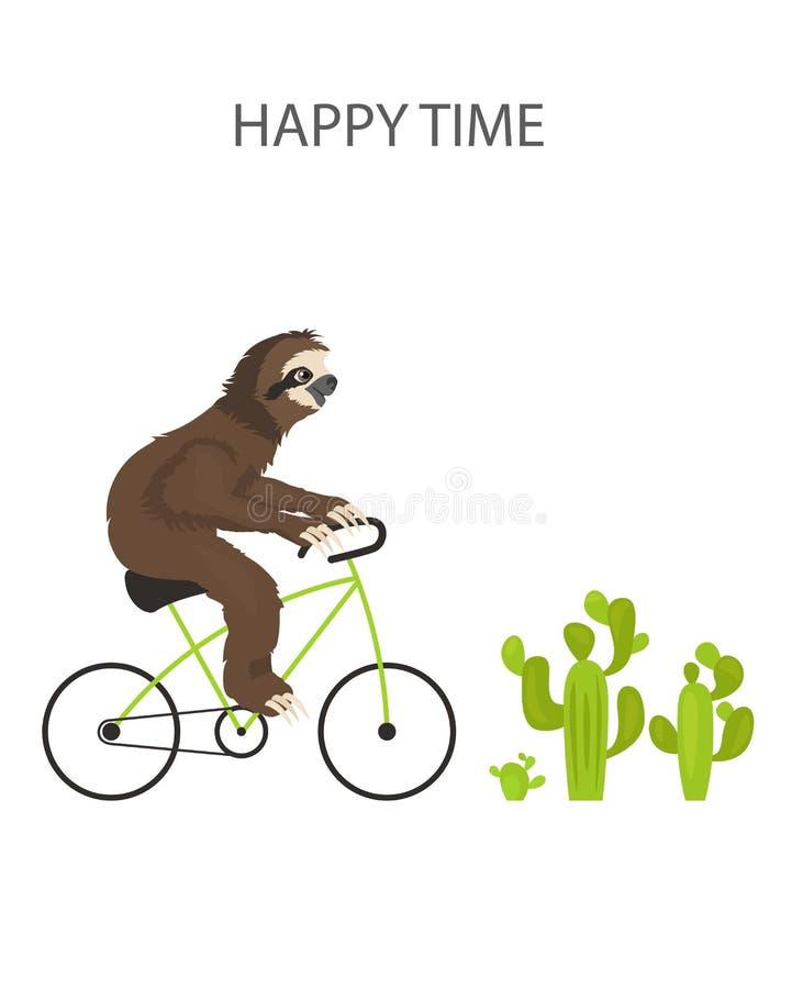 A história de uma preguiça Viagem, feriado Preguiças engraçadas dos desenhos animados nas posturas diferentes ajustadas ilustração royalty free