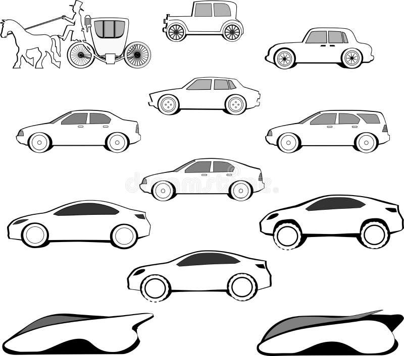 Evolução do carro do século ilustração do vetor