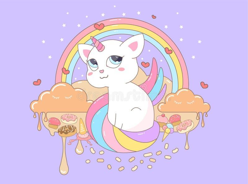 História doce bonita do unicórnio do gato da ilustração do vetor ilustração stock