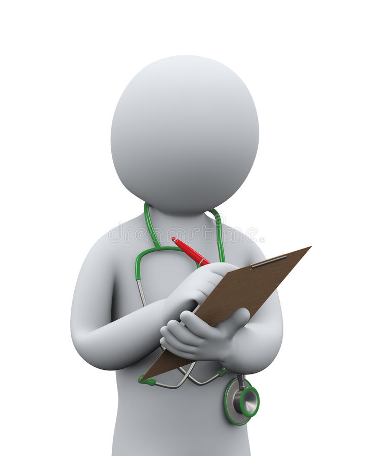 história médica paciente da escrita do doutor 3d ilustração stock