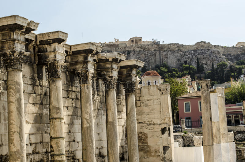 História romana da arquitetura, Atenas, Grécia fotos de stock royalty free