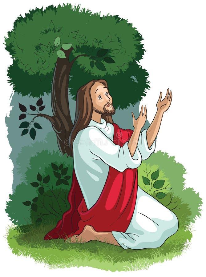 Histórias da Bíblia de Jesus A agonia no jardim ilustração do vetor