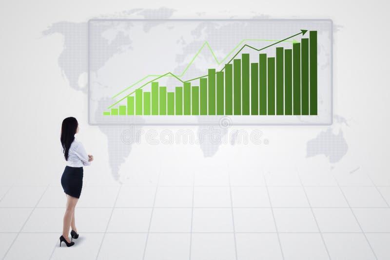 Histogramme avec l'augmentation de tendance et de femme d'affaires -  illustration libre de droits