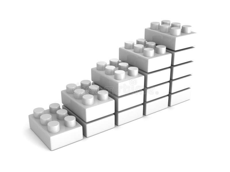 Histogramme croissant des blocs blancs de jouet photo libre de droits