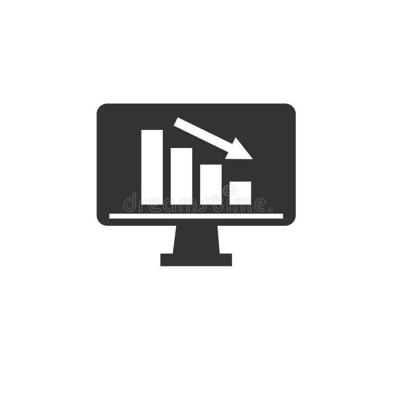 Histogramme d'icône dans l'ordinateur ligne mince de symbole de signe d'isolement par illustration pour le Web, vecteur plat mini illustration libre de droits