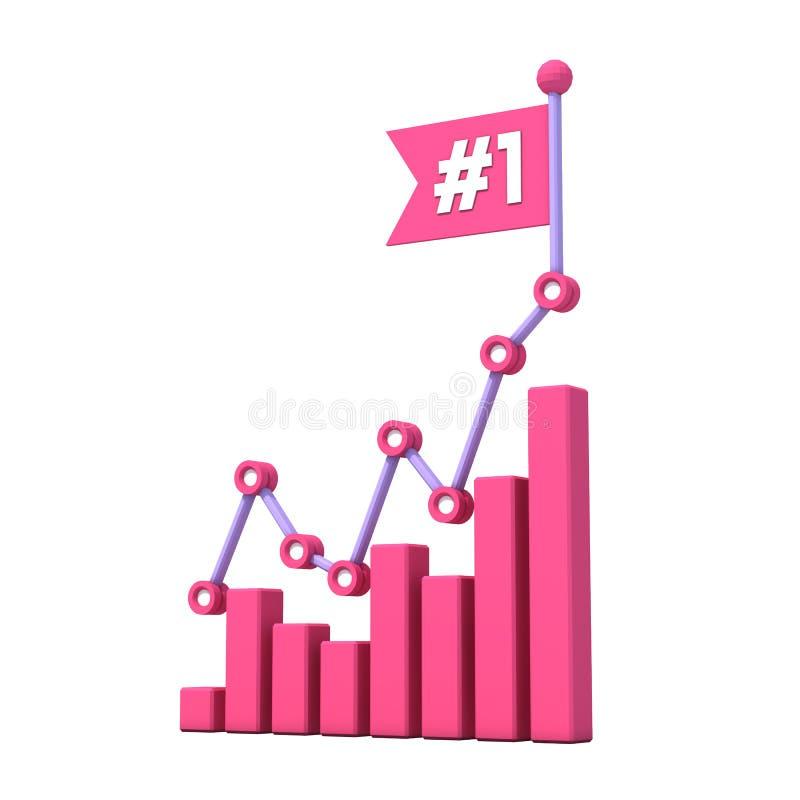 Histogramme moderne de croissance avec le numéro 1 sur le drapeau photos libres de droits